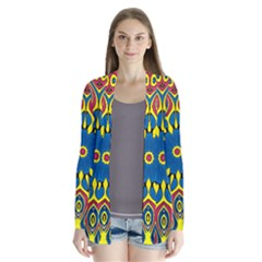 Yellow Flower Mandala Drape Collar Cardigan