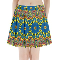 Yellow Flower Mandala Pleated Mini Skirt