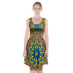 Yellow Flower Mandala Racerback Midi Dress