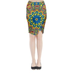 Yellow Flower Mandala Midi Wrap Pencil Skirt