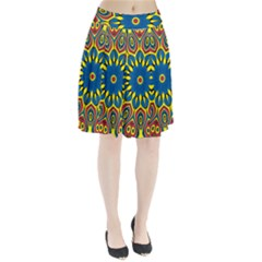 Yellow Flower Mandala Pleated Skirt