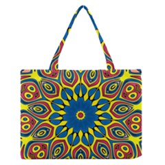 Yellow Flower Mandala Medium Zipper Tote Bag