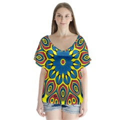 Yellow Flower Mandala Flutter Sleeve Top
