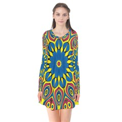 Yellow Flower Mandala Flare Dress