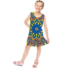 Yellow Flower Mandala Kids  Tunic Dress