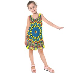 Yellow Flower Mandala Kids  Sleeveless Dress