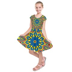 Yellow Flower Mandala Kids  Short Sleeve Dress