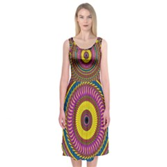 Ornament Mandala Midi Sleeveless Dress
