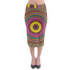 Ornament Mandala Midi Pencil Skirt