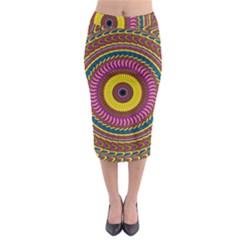 Ornament Mandala Midi Pencil Skirt