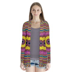Ornament Mandala Drape Collar Cardigan