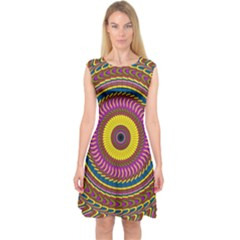 Ornament Mandala Capsleeve Midi Dress