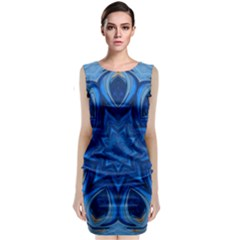 Blue Blossom Mandala Classic Sleeveless Midi Dress