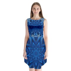Blue Blossom Mandala Sleeveless Chiffon Dress