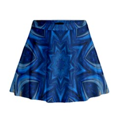Blue Blossom Mandala Mini Flare Skirt
