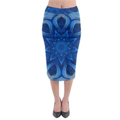 Blue Blossom Mandala Midi Pencil Skirt