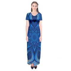 Blue Blossom Mandala Short Sleeve Maxi Dress