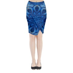 Blue Blossom Mandala Midi Wrap Pencil Skirt