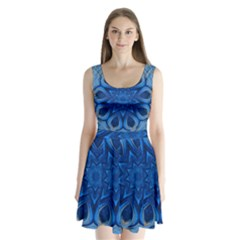 Blue Blossom Mandala Split Back Mini Dress
