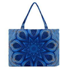 Blue Blossom Mandala Medium Zipper Tote Bag