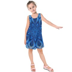 Blue Blossom Mandala Kids  Sleeveless Dress