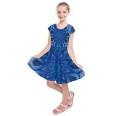 Blue Blossom Mandala Kids  Short Sleeve Dress