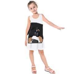 Peeping Entlebucher Kids  Sleeveless Dress