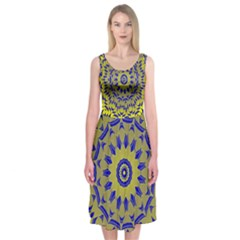 Yellow Blue Gold Mandala Midi Sleeveless Dress