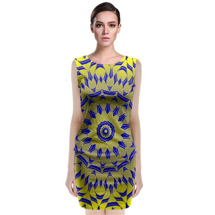 Yellow Blue Gold Mandala Classic Sleeveless Midi Dress