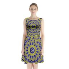 Yellow Blue Gold Mandala Sleeveless Chiffon Waist Tie Dress