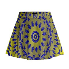 Yellow Blue Gold Mandala Mini Flare Skirt