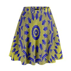 Yellow Blue Gold Mandala High Waist Skirt