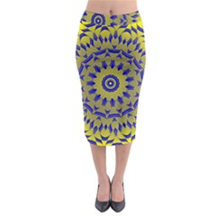 Yellow Blue Gold Mandala Midi Pencil Skirt