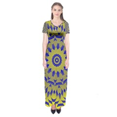 Yellow Blue Gold Mandala Short Sleeve Maxi Dress