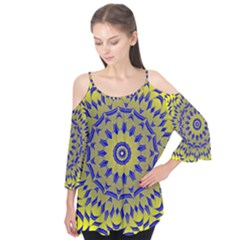 Yellow Blue Gold Mandala Flutter Tees