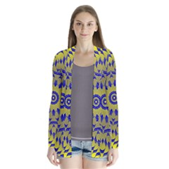 Yellow Blue Gold Mandala Drape Collar Cardigan