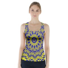 Yellow Blue Gold Mandala Racer Back Sports Top