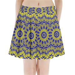 Yellow Blue Gold Mandala Pleated Mini Skirt