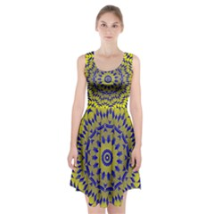 Yellow Blue Gold Mandala Racerback Midi Dress