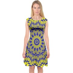 Yellow Blue Gold Mandala Capsleeve Midi Dress