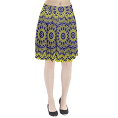 Yellow Blue Gold Mandala Pleated Skirt