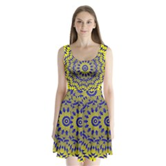 Yellow Blue Gold Mandala Split Back Mini Dress