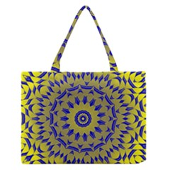 Yellow Blue Gold Mandala Medium Zipper Tote Bag