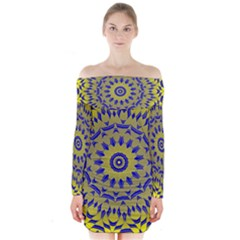 Yellow Blue Gold Mandala Long Sleeve Off Shoulder Dress