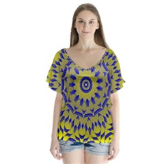 Yellow Blue Gold Mandala Flutter Sleeve Top
