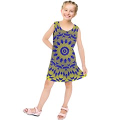 Yellow Blue Gold Mandala Kids  Tunic Dress