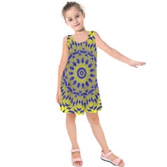 Yellow Blue Gold Mandala Kids  Sleeveless Dress