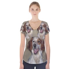 Irish Red And White Setter Short Sleeve Front Detail Top