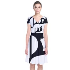 Pirate Party Of Iceland Logo Short Sleeve Front Wrap Dress