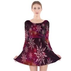Christmas Snowflake Ice Crystal Long Sleeve Velvet Skater Dress